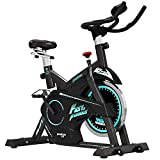 pooboo Pro Indoor Cycling Bicycle, Belt Drive Exercise Bike,Stationary Exercise LED Display Bicycle Heart Pulse Trainer Bike Flywheel Smooth Quiet