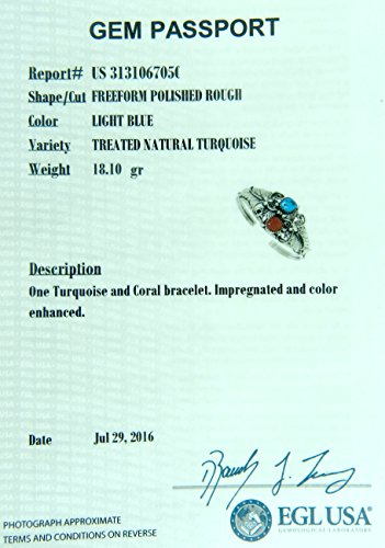 USA Made By Navajo Artist Alice Johnson: Genuine Navajo Turquoise-Coral Women's Bracelet by Rich Peel (Image #3)