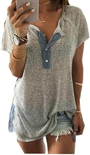 Gillberry Women Loose Casual Button Blouse T Shirt Tank Tops (XXL)