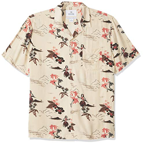 - 28 Palms Men's Standard-Fit Vintage Washed 100% Rayon Tropical Hawaiian Shirt, Hula Girl Pink/Cream, Large