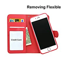 """iPhone 6S Plus Wallet Leather Case,Wetben 2 in 1 Magnetic Detachable Case with Stand Feature and Card Holder for Apple iPhone 6 Plus , 5.5"""" (for iphone 6/6S Plus, Red)"""