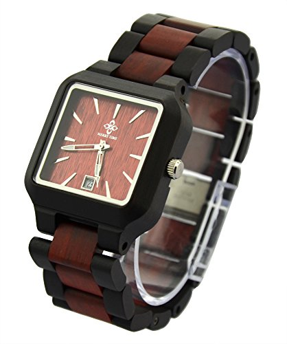 Topwell® Black and Brown Adjustable Square Wood Wooden Wristwatches with Date Calendar Function