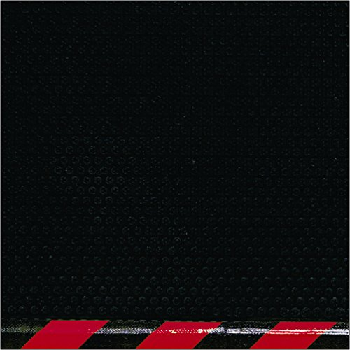 M+A Matting 480 Happy Feet Nitrile Rubber Linkable Middle Grip Surface Anti-Fatigue Interior Floor Mat with Striped Red Border, 5' Length x 3' Width, 1/2