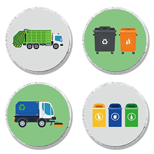 MAGJUCHE Garbage Trash Truck Party Candy Stickers, Boy Birthday Party Supplies, Sticker Labels for Favors, Decorations, Fit Hershey's Kisses, 304 Count