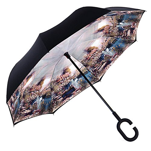 S15 Drivers (AmaGo Inverted Umbrella – Reverse Double Layer Long Umbrella, C-Shape Handle & Self-Stand to Spare Hands, Inside-Out Fold to Keep Cars & Drivers Dry, Carrying Bag for Easy Traveling)