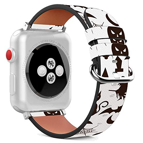 Black Cat Patterns Halloween (Compatible with Apple Watch - 42mm Leather Wristband Bracelet with Stainless Steel Clasp and Adapters - Halloween Black)