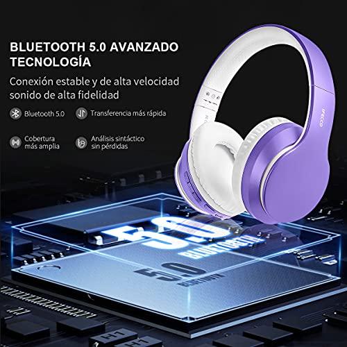 Ifecco Bluetooth Estéreo Auriculares Música sobre-oído Sonido de Alta fidelidad, Bluetooth Banda para la Cabeza Plegable con micrófono y Cable de Audio PC (Morado Claro)