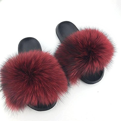 - Manka Vesa Womens Luxury Real Raccon Fur Slippers Slides Indoor Outdoor Flat Soles Soft Spring Summer Shoes