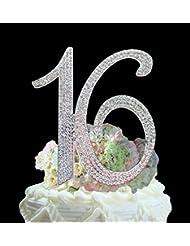 Number 16 Sweet 16 Birthday Cake Topper - Monogram Rhinestone Silhouette w/ Crystals