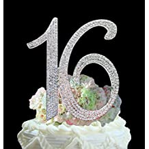 "Number ""16"" Sweet 16 Birthday Cake Topper - Monogram Rhinestone Silhouette w/ Crystals"
