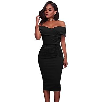 Moda vestido de manga corta de las mujeres,Black,XL