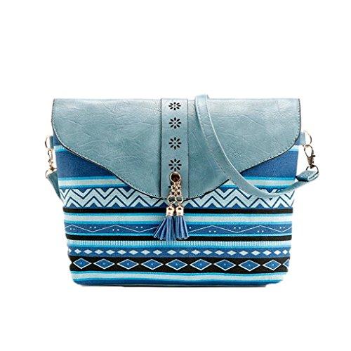 Femmes Petit Sac BandoulièRe,OverDose Popular Impression Sac à Main Bandoulière réglable Vintage Messenger Bag Bleu