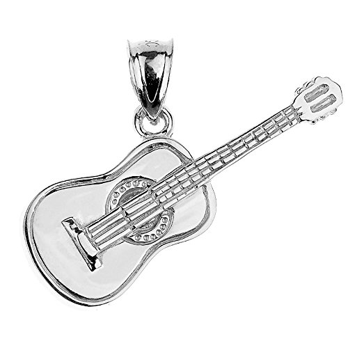 Music Jewelry 925 Sterling Silver Acoustic Guitar Charm Pendant