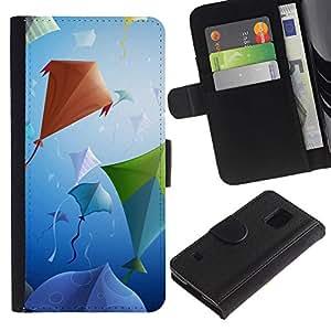 Ihec-Tech / Flip PU Cuero Cover Case para Samsung Galaxy S5 V SM-G900 - Design Kite Party