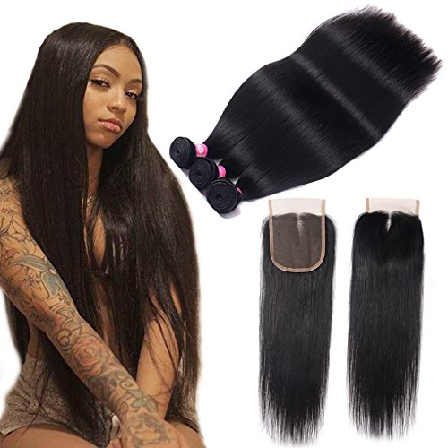 Brazilian Straight Bundles With Closure 10A Unprocessed Virgin Straight Hair 3 Bundles with Middle Part Lace Closure B-Fashion Remy Human Hair Extensions (18 20 22 and 16 Closure)