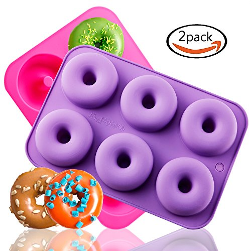 TEMCHY Donut Pan, 2-Pack Silicone Doughnuts Baking Pan, Non-Stick Cake Mold, Easy to Bake Full Size Perfect Shaped Donuts That Your Family and Kids Will Love ()