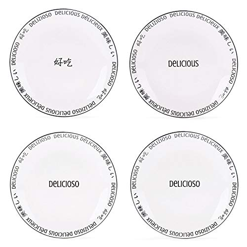 Bico Delicious Appeal Ceramic 8.75 inches Salad Plates, Set 4, for Pasta, Salad, Appetizer, Microwave & Dishwasher Safe, House Warming Birthday Anniversary Gift