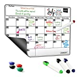 Magnetic Dry Erase Calendar White Board Monthly Weekly Planner 2017 for Refrigerator With Markers Magnets Set (15.7'' x 11.8'')