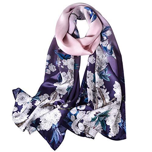 STORY OF SHANGHAI Mulberry Silk Head Scarf Hair Ladies Silk Floral Head Scarfs
