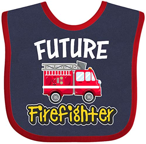 Inktastic - Future Firefighter Baby Bib Navy and Red - Bib Future Baby Firefighter