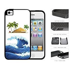 Ocean Wave Tiki Hut Watercolor 2-Piece Dual Layer High Impact Rubber Silicone Cell Phone Case Apple iPhone 4 4s by icecream design
