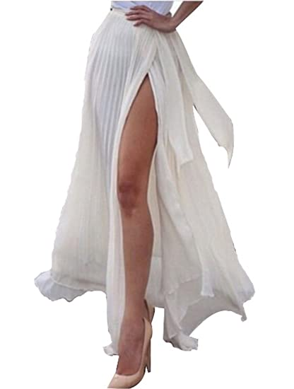 2456bfe21b Amazon.com: ANDUUNI Women's Fall Winter High Waisted Sheer Maxi Wrap Slit  Skirt Beach Coverup Skirt: Kitchen & Dining