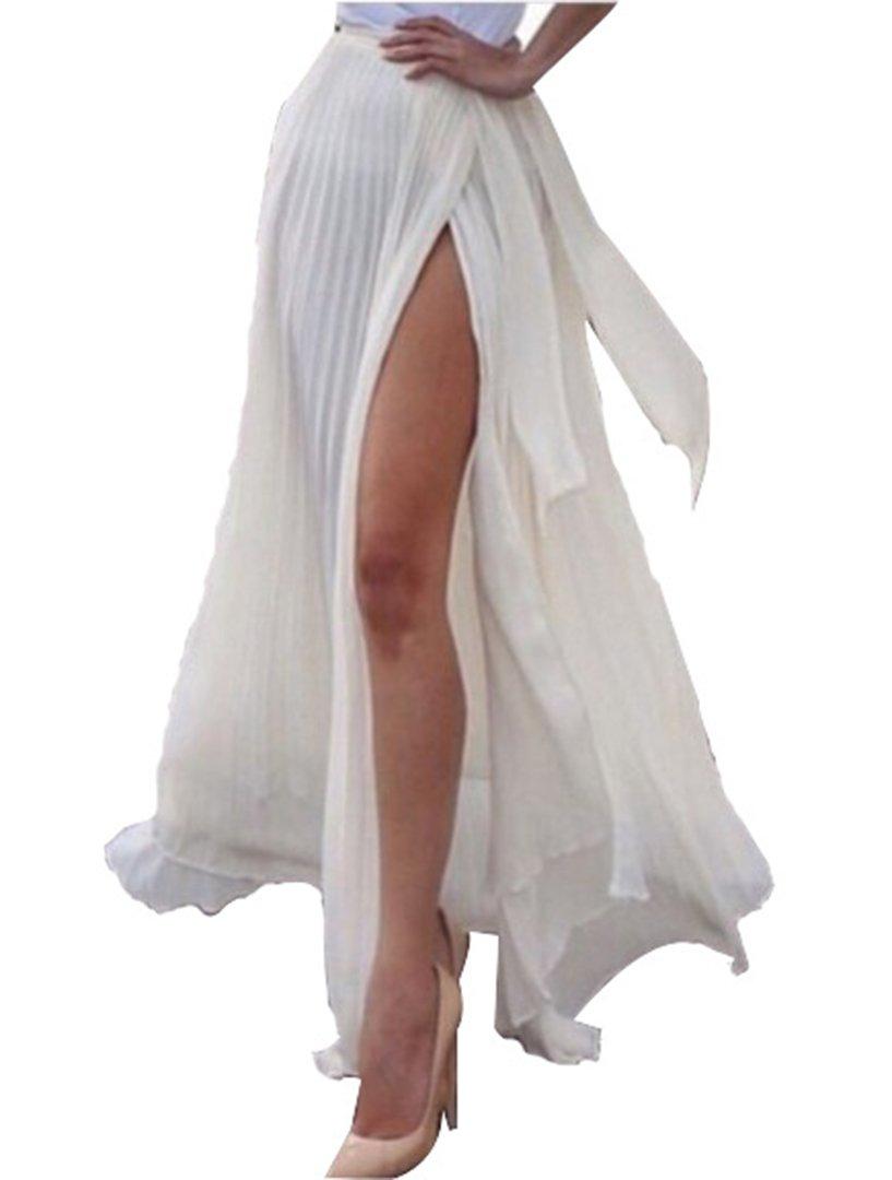 ANDUUNI Women's Fall Winter High Waisted Sheer Maxi Wrap Slit Skirt Beach Coverup Skirt