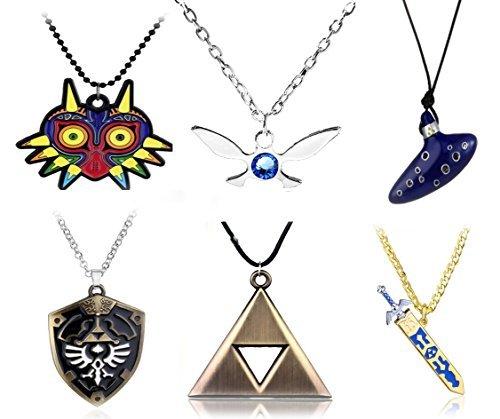 Legend Of Zelda Costume Accessories (6pcs Inspired Necklaces Trioforce,Majora's Mask,Navi Necklace,Shield,Sword & Flute Blue Instrument)