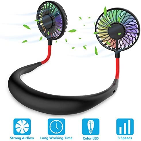 Hands Free Portable Neck Fan – Rechargeable Mini USB Personal Fan Battery Operated with 3 Level Air Flow, 7 LED Lights for Home Office Travel Indoor Outdoor Black