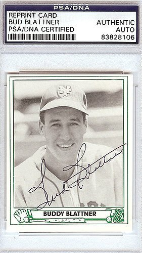 Bud Blattner Signed 1946 Play Ball Reprint Trading Card #45 New York Giants - PSA/DNA Authentication - Autographed MLB Baseball Cards from Sports Collectibles Online