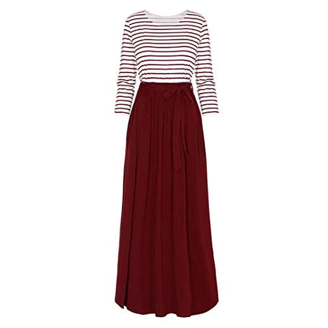 Todaies Women Dress Women Floral Print Long Sleeve Dress High Waist Boho Long Maxi Dress with Pockets