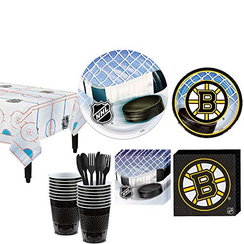 Party City Boston Bruins Party Kit for 16 Guests, Includes Table Cover, Plates, Napkins and More ()