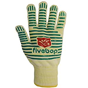 Fivebop Oven Glove with Fingers 932°F Extreme Heat Resistant, EN407 Certified Cooking Mitts Set of 2 (Yellow-green)
