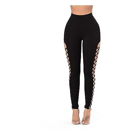 676b2bd71e325d Whryspa Sexy Women Black Crisscross Cutout Sides Sport Leggings Lace Up  Leggings,S