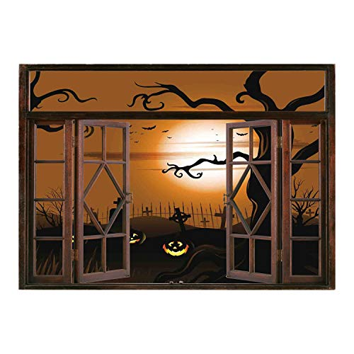 SCOCICI Peel and Stick Fabric Illusion 3D Wall Decal Photo Sticker/Halloween Decorations,Leafless Creepy Tree with Twiggy Branches at Night in Cemetery Graphic,Brown Tan/Wall Sticker Mural ()