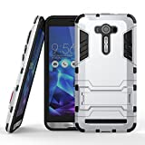 DWay ASUS ZenFone 2 Laser ZE551KL Cover Armor Hybrid Design with Stand Feature 2 In 1 Combo Dual Layer Detachable Protective Shell Phone Hard Back Cover Case for ASUS ZenFone 2 Laser (ZE550KL/ZE551KL) 5.5inches (Silver)