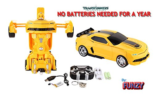 Funzy Latest Model Transformer Yellow Bumblebee Camaro NO BATTERIES NEEDED FOR A YEAR, SUPER MEGA RC by