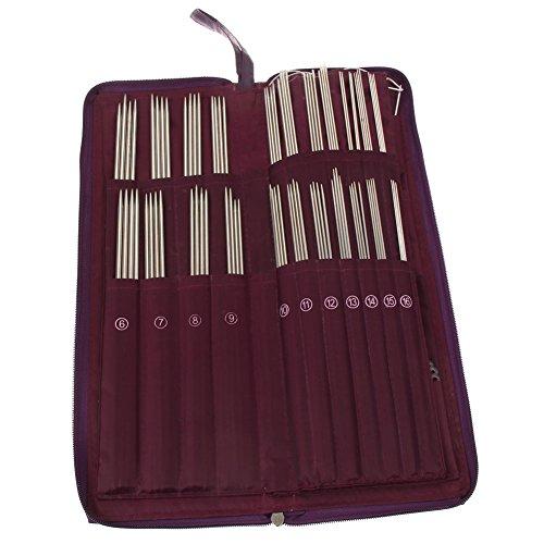 Easydeal 104Pcs Stainless Steel Straight Knitting Needles Crochet Hook Weave Yarn Set