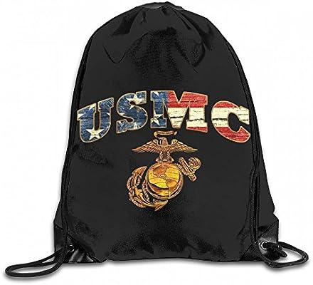 6bcf82b16902 Amazon.com: YERZ American Flag USMC Custom Drawstring Shoulder Bags ...