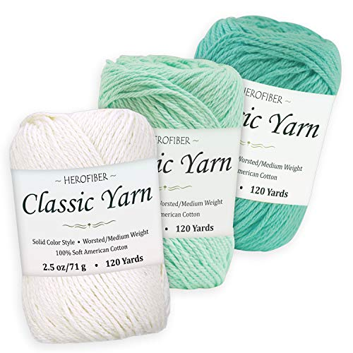 (Cotton Yarn Assortment | Coconut White + Mint + Aqua | 2.5oz / Ball - 3 Solid Colors - Worsted/Medium Weight - for Knitting, Crochet, Needlework, Decor, Arts & Crafts Projects)