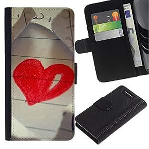 Ihec-Tech / Flip PU Cuero Cover Case para Sony Xperia Z1 Compact D5503 - Love Drawing Heart
