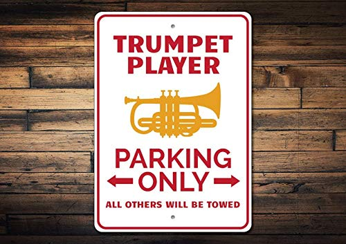 Wini2342ckey Trumpet Player Gift, Trumpet Player Parking Sign, Trumpet Sign, Trumpet Gift, Trumpet Decor, Instrument Sign - Quality Aluminum Music Decor ()