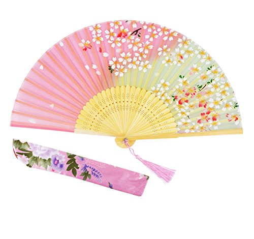 Amajiji 8.27Cherry Blossoms Chinease/Japanese Hand Held Silk Folding Fan with Bamboo Frame,Hollow Carve Patterns Bamboo Frame Women Hand Folding Fans Hand Fan Gift Fan Folding Fan (Pink)