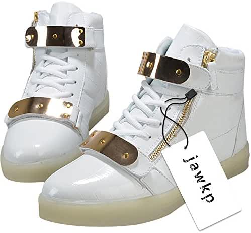 Hot Lvxingse Women High Top USB Charging LED Shoes Flashing Sneakers