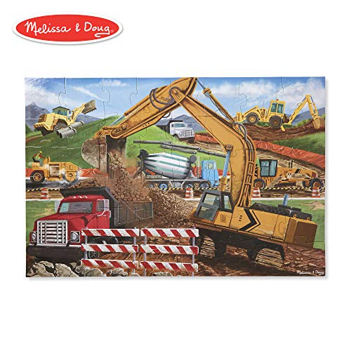 - Melissa & Doug Building Site Wooden Jigsaw Floor Puzzle (Beautiful Original Artwork, Sturdy Cardboard Pieces, 48 Pieces, 2' x 3')