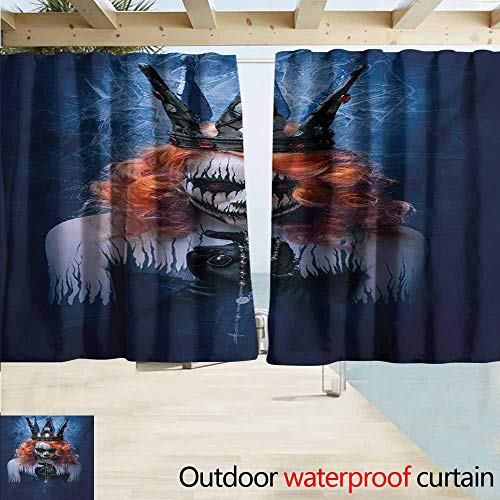 Zombie Pin Up Halloween Makeup (Balcony Curtains,Queen Queen of Death Scary Body Art Halloween Evil Face Bizarre Make Up Zombie,Blackout Draperies for Bedroom,W63x72L Inches,Navy Blue Orange)