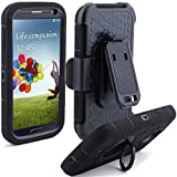 S4 Case, LK Heavy Duty Black Armor Holster Defender Full Body Protective Hybrid Case Cover with Built-in Kickstand Belt Clip for Samsung Galaxy S4