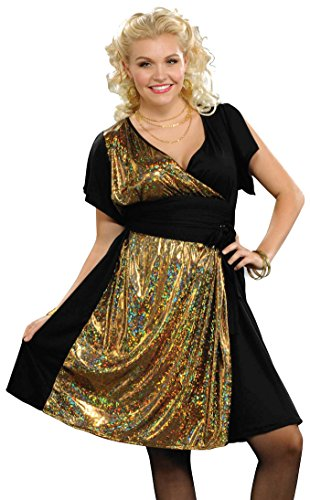 Forum Novelties Women's Plus-Size Disco Fever Costume Dress, Gold, Plus