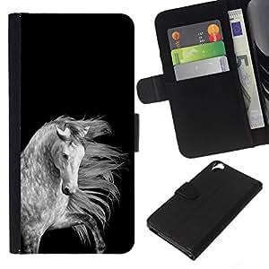 All Phone Most Case / Oferta Especial Cáscara Funda de cuero Monedero Cubierta de proteccion Caso / Wallet Case for HTC Desire 820 // crin de caballo negro gris blanco hermosa