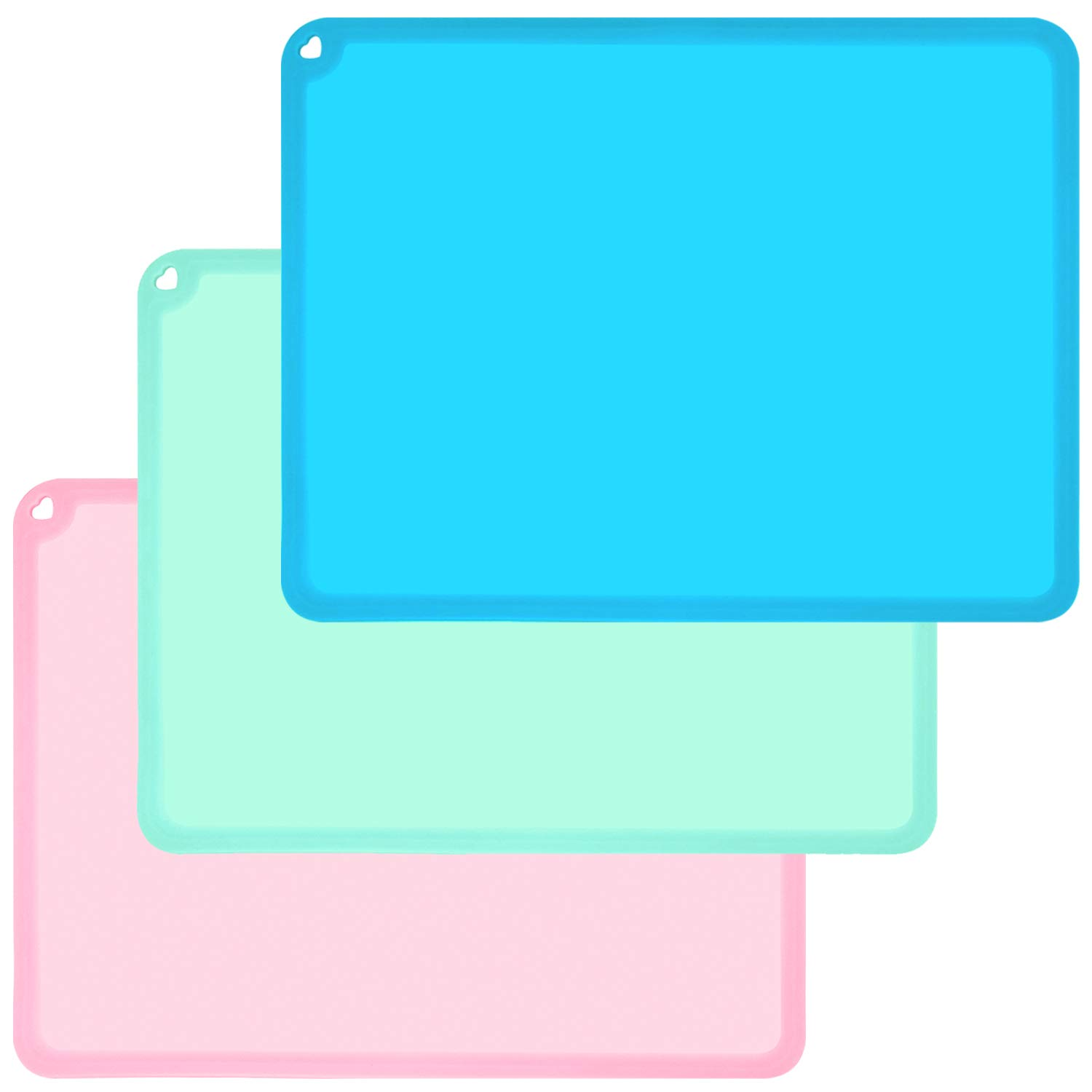 Kids Placemats, Baby Placemats for Kids Toddler Children Reusable Non-Slip Table Mats Baby Food Mats for Restaurant, 3 Pack, Blue/Green/Pink